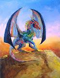 tęczowy smok skalny, olej, płótno, 50 x 70 cm, współautor Michał Mamicaa