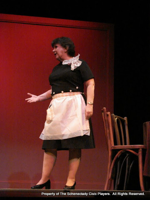 """Susan Katz in """"The Philadelphia"""" as part of THE IVES HAVE IT - January/February 2012.  Property of The Schenectady Civic Players Theater Archive."""