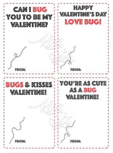 photograph regarding Bugs and Kisses Free Printable called Plastic Bug University Valentine (Cost-free Printable) - The Kim 6 Mend