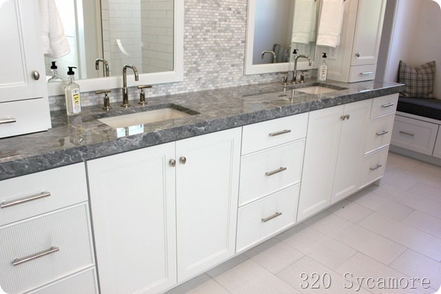 gray white master bath cabinets storage