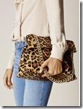 Karen Millen suede and leather leopard print bag