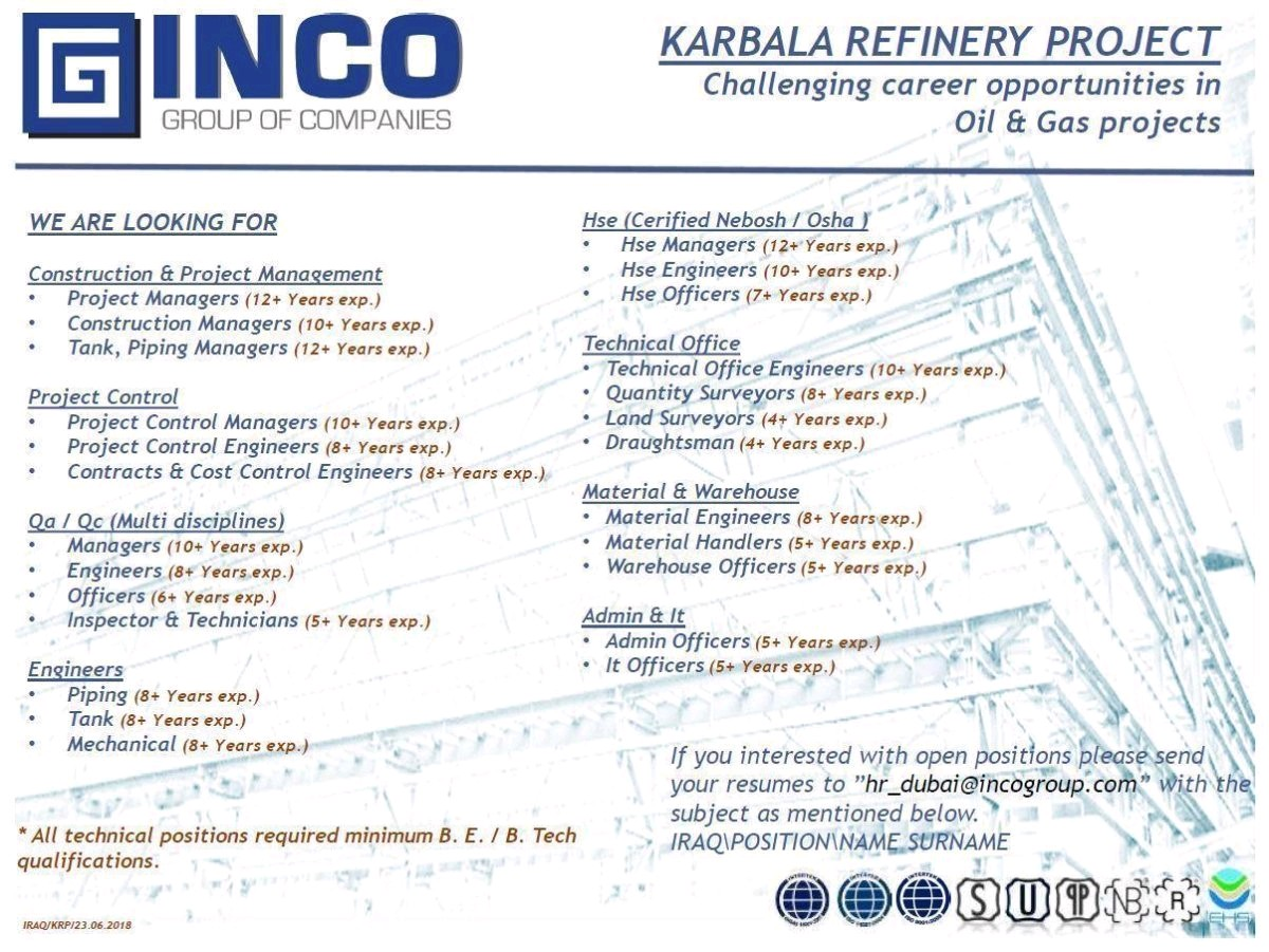 Oil and Gas Jobs: Karbala Refinery Project Project