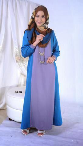 Fesyen Jubah Muslimah Cotton Terkini 2014 Biru - Kelabu JSK-202