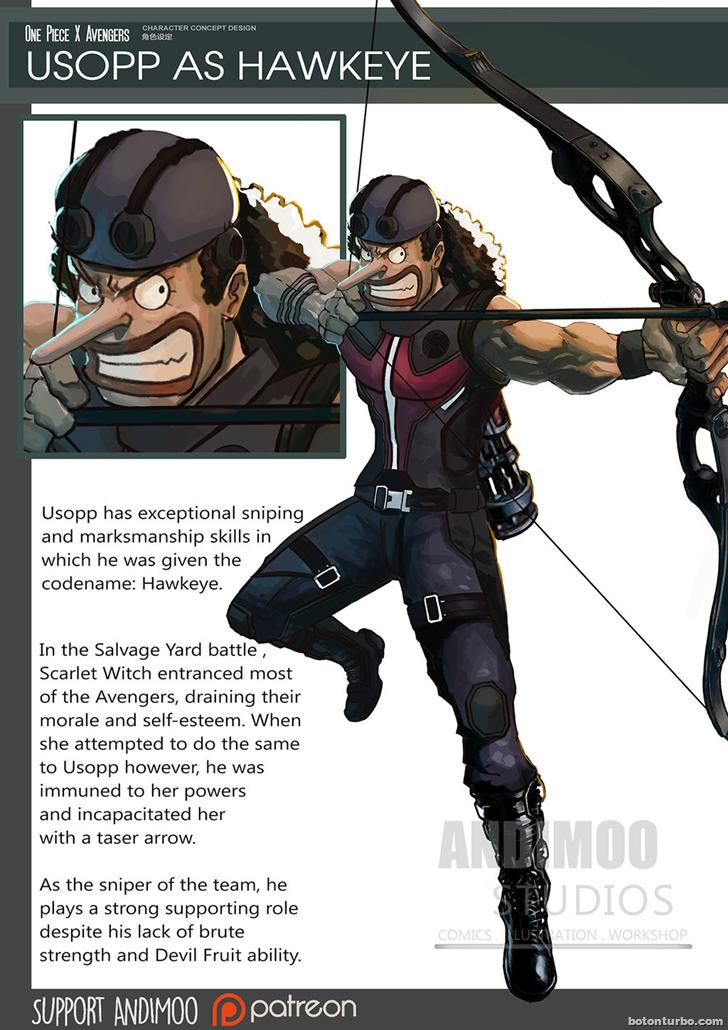 Usopp como Ojo de Halcón (Hawkeye)