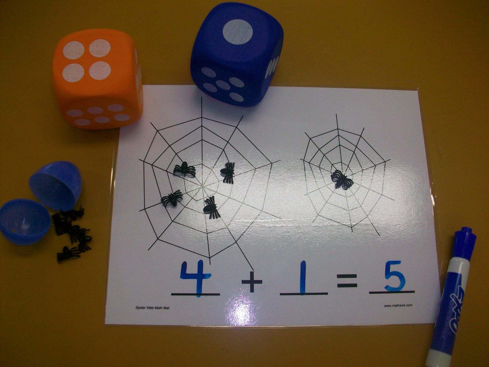 First Grade School Box Spider Addition