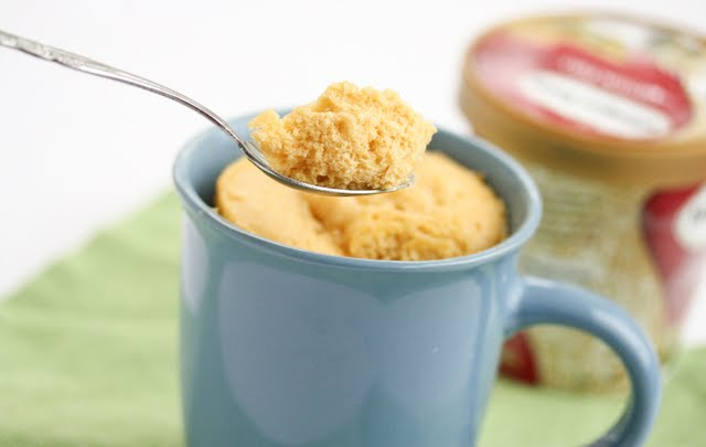 photo of a spoonful of Pumpkin Quick Bread Mug Cake