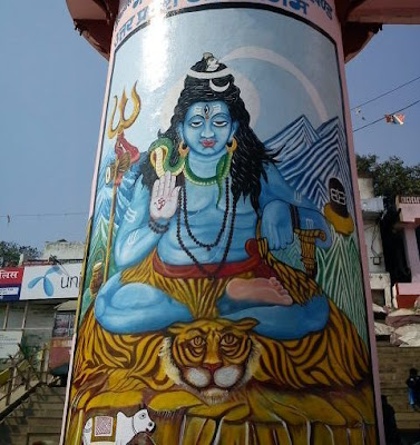 Lord Shiva painted on the ghats of Varanasi