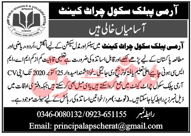 Army Public School Jobs October 2020