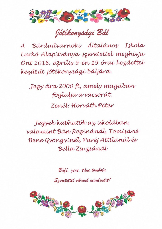 Lurkó Alapítvány - Jótékonysági Bál 2016