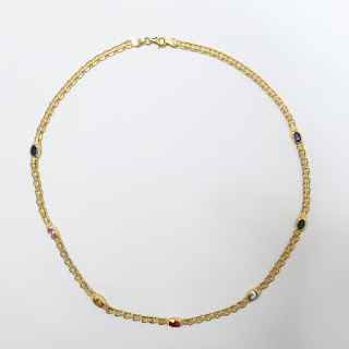 14K Gold & Multi Colored Stone Necklace