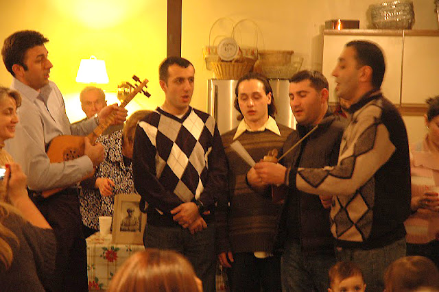 Some songs featured accompaniment by traditional instruments.  An image of +Peter Petorak, in whose memory the meal was offered, sits in the background.