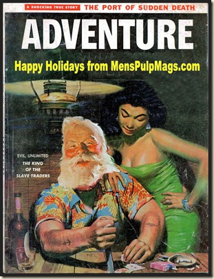 ADVENTURE, June 1957 Xmas spoof, Mort Kunstler art REV