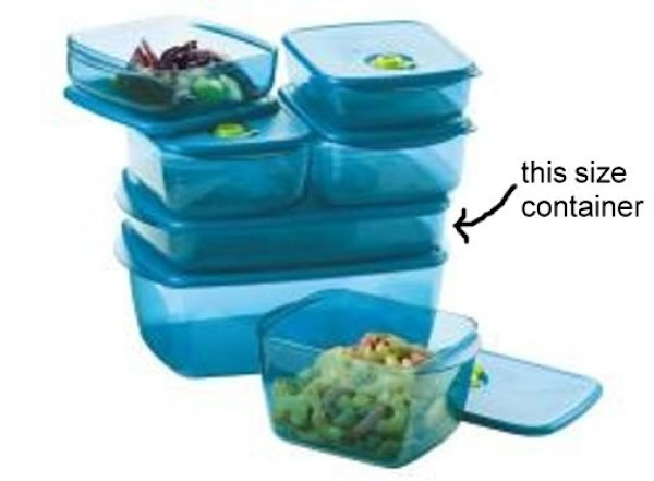 In an ungreased large rectangular Tupperware® container, place 1/2 package of oatmeal cookies; breaking...