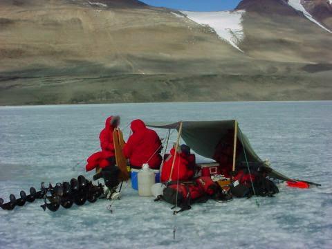 Sampling at Lake Vanda during a day trip, 2001