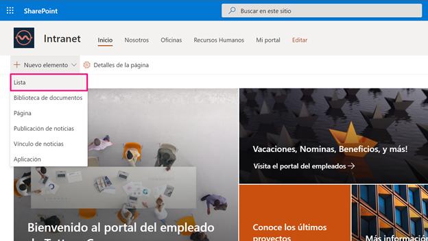 Captura de pantalla donde se visualiza la barra de herramientas de una intranet en SharePoint con el primer elemento desplegado y seleccionado (Lista)