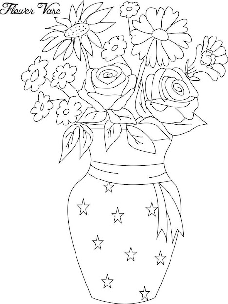 Flower Vase Coloring Page Flower Bouquet Rose In Vase Flower Bouquet  Coloring Page Rose In