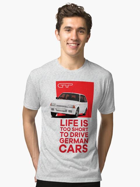 Elämä on myös liian lyhyt ajella saksalaisilla autoilla! Citroënpaita