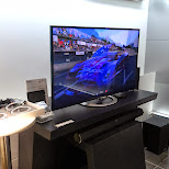 testing the new Playstation equipment in Ginza, Tokyo, Japan