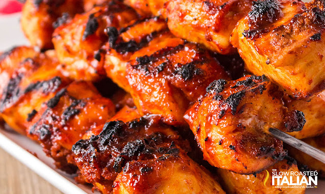 Bourbon BBQ Chicken Skewers on a plate