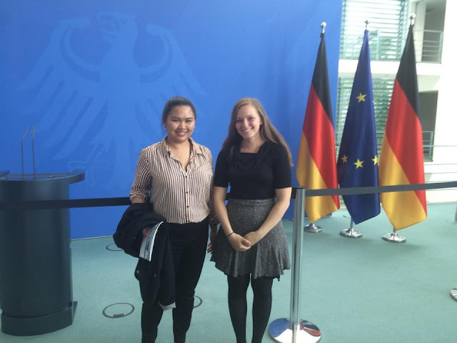 Brianna Gasgonia: #StudyAbroadBecause... you'll never forget it or regret it! With another intern at the German Chancellery, in front of where Angela Merkel makes her announcements to the press!