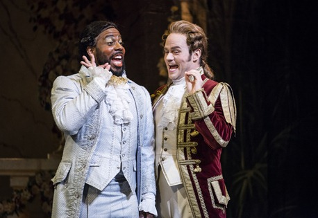 IN REVIEW: Baritone SIDNEY OUTLAW as Dandini (left) and tenor ANDREW OWENS as Don Ramiro (right) in Greensboro Opera's production of Gioachino Rossini's LA CENERENTOLA, August 2015 [Photo © by Artisan Images/David Wilson, used with permission]