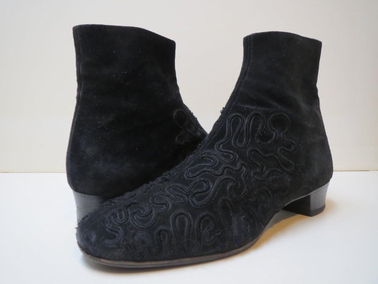 Giorgio Armani Embroidered Ankle Boots
