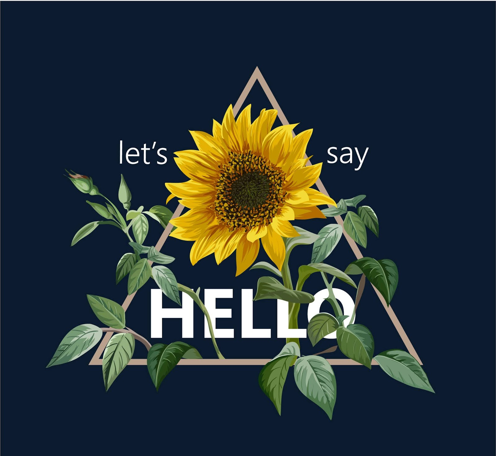 Typography Slogan With Sunflower Illustration Free Download Vector CDR, AI, EPS and PNG Formats