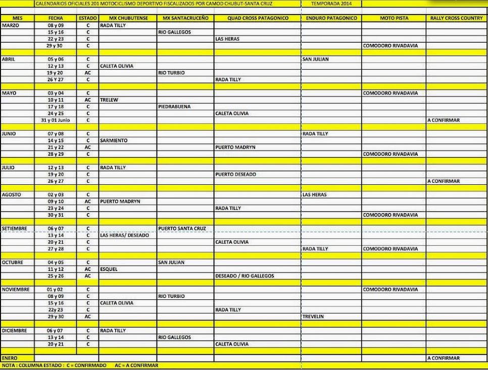 Calendario 2014.
