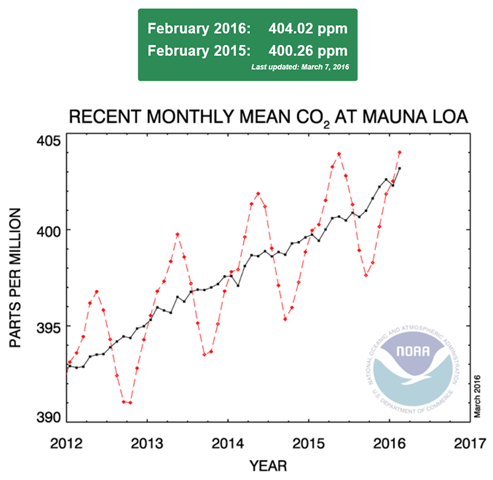 This graph shows recent monthly mean carbon dioxide measured at Mauna Loa Observatory, Hawaii, 7 March 2016. Graphic: NOAA