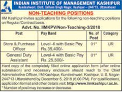 IIM Kashipur Notification 2018 www.indgovtjobs.in