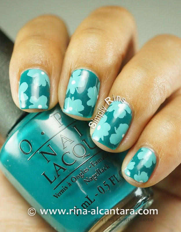 Teal-y Flowers Nail Art on OPI Amazon...Amazoff