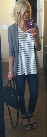 Thritty Wife, Happy Life- Daily outfits. Grey blazer with stripe swing tank top