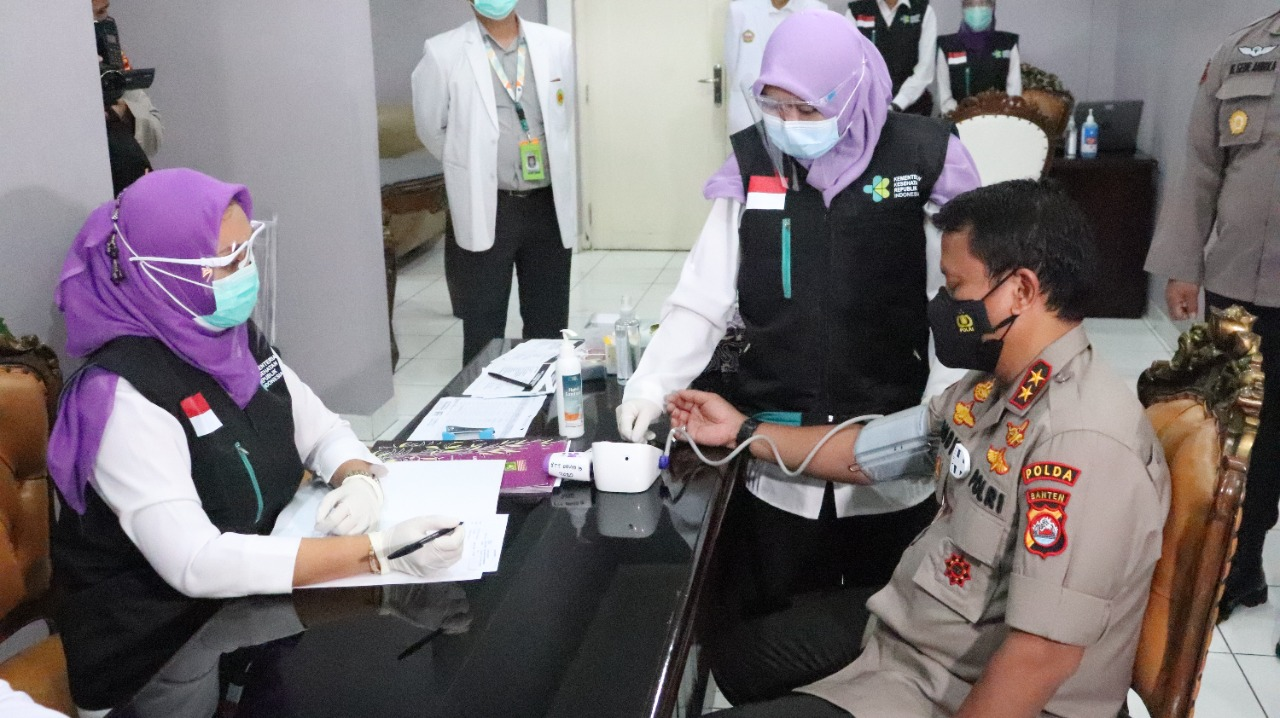 Polda Banten Luncurkan Vaksinasi Dijajapkeu  Kabumi