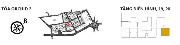 Vị trí các tòa tháp, các tầng có căn hộ 2 phòng ngủ DT: 83.09m2