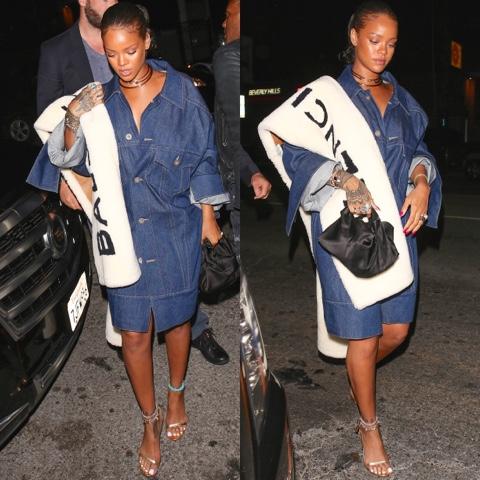 Rihanna wears Matthew Dolan Denim, Pre-Fall 2016 Balenciaga