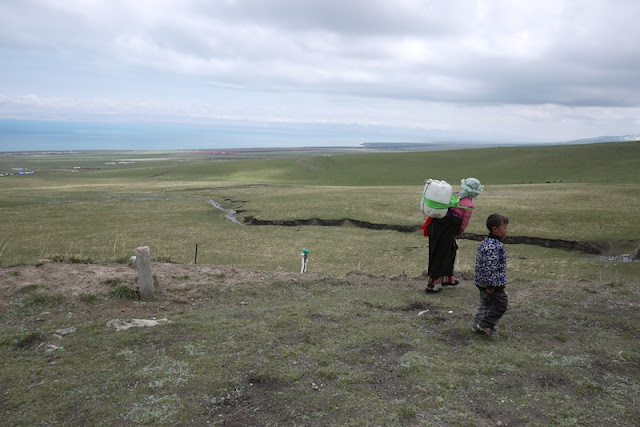 Tibetan woman and boy in Qinghai, China