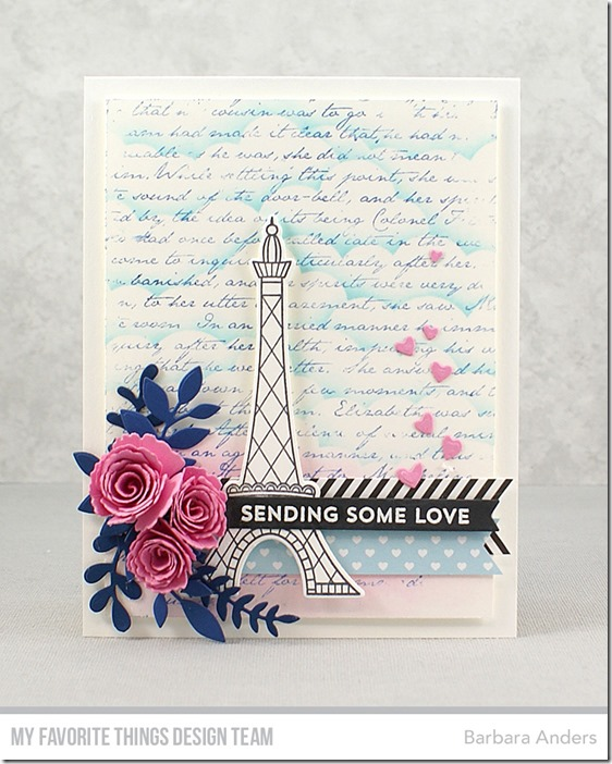 Stamps: In Paris, From the Heart, Romantic Script Background   Die-namics: In Paris, Mini Royal Roses, Fab Foliage, Hearts in a Row – Horizontal, Tag Builder Blueprints 5   Stencil: Mini Cloud Edges    Barbara Anders   #mftstamps