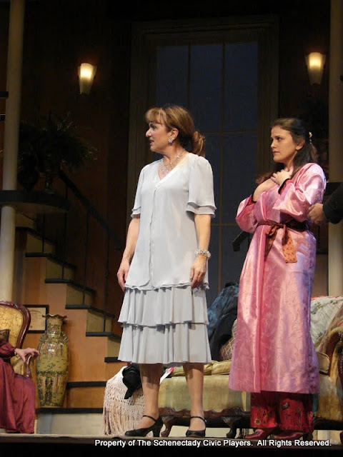 Benita Zahn and Stephanie G. Insonga in THE ROYAL FAMILY (R) - December 2011.  Property of The Schenectady Civic Players Theater Archive.