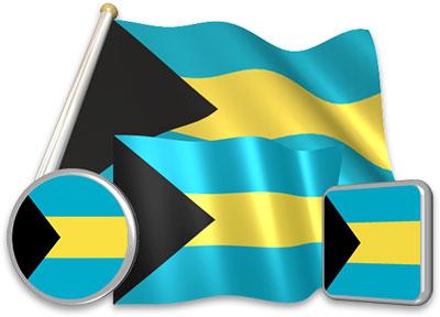 Bahamian flag animated gif collection