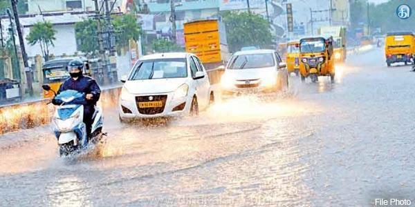 ரத்தனகிரி அருகே பெங்களூரு தேசிய நெடுஞ்சாலையில் மழைநீர் தேங்கியது