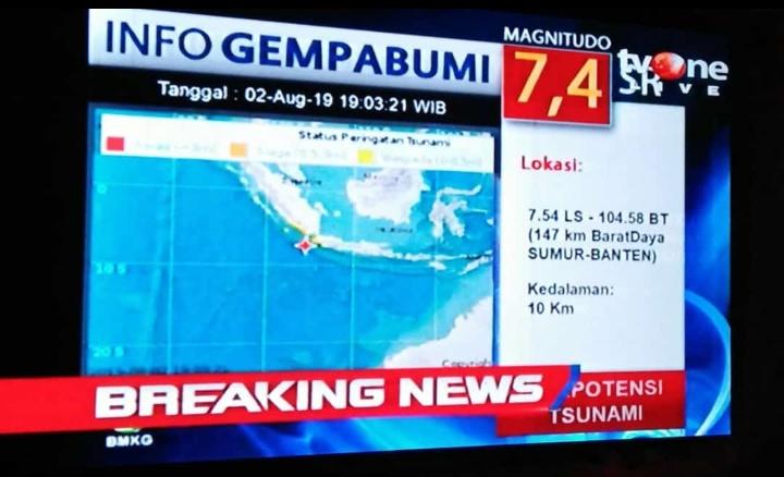 Gempa Banten 7,4 SR