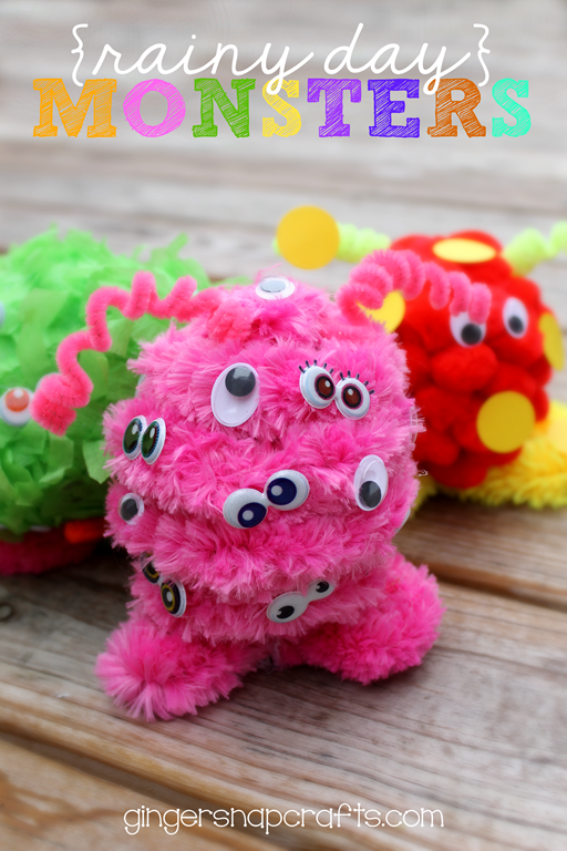 Rainy Day Monsters at GingerSnapCrafts.com #makeitfuncrafts #kidscraft #MIFTeam