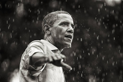 photo of President Barack Obama campaigning in the rain, Glen Allen, Virginia, 2012 by Brooks Kraft