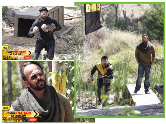 Khatron Ke Khiladi host Rohit Shetty and stunt performing contestants Salman and Ajaz with skulls