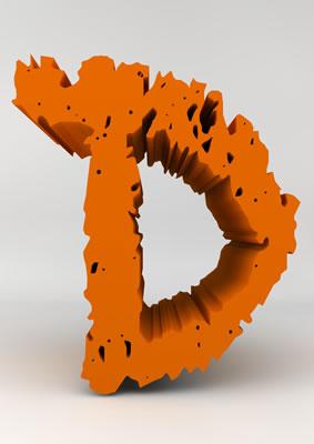 lettre 3D chiffron de craie orange - D - images libres de droit