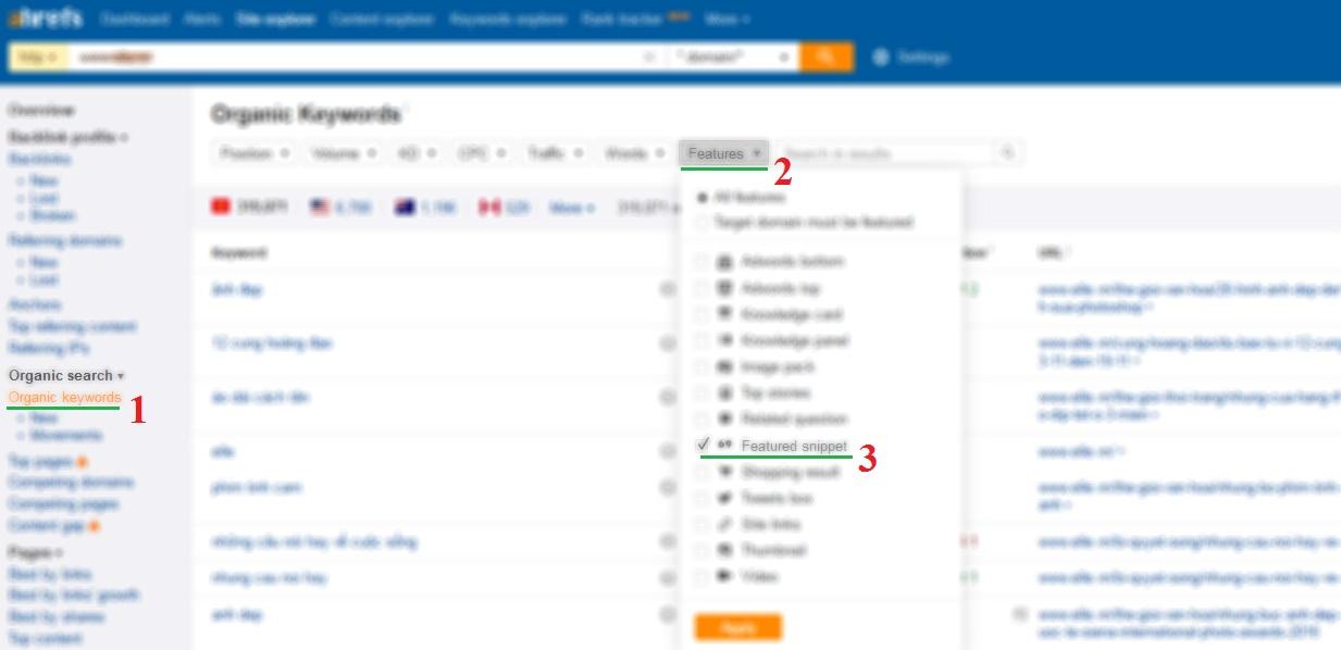 Cách sử dụng ahrefs.com phân tích từ khóa Feature Snippet
