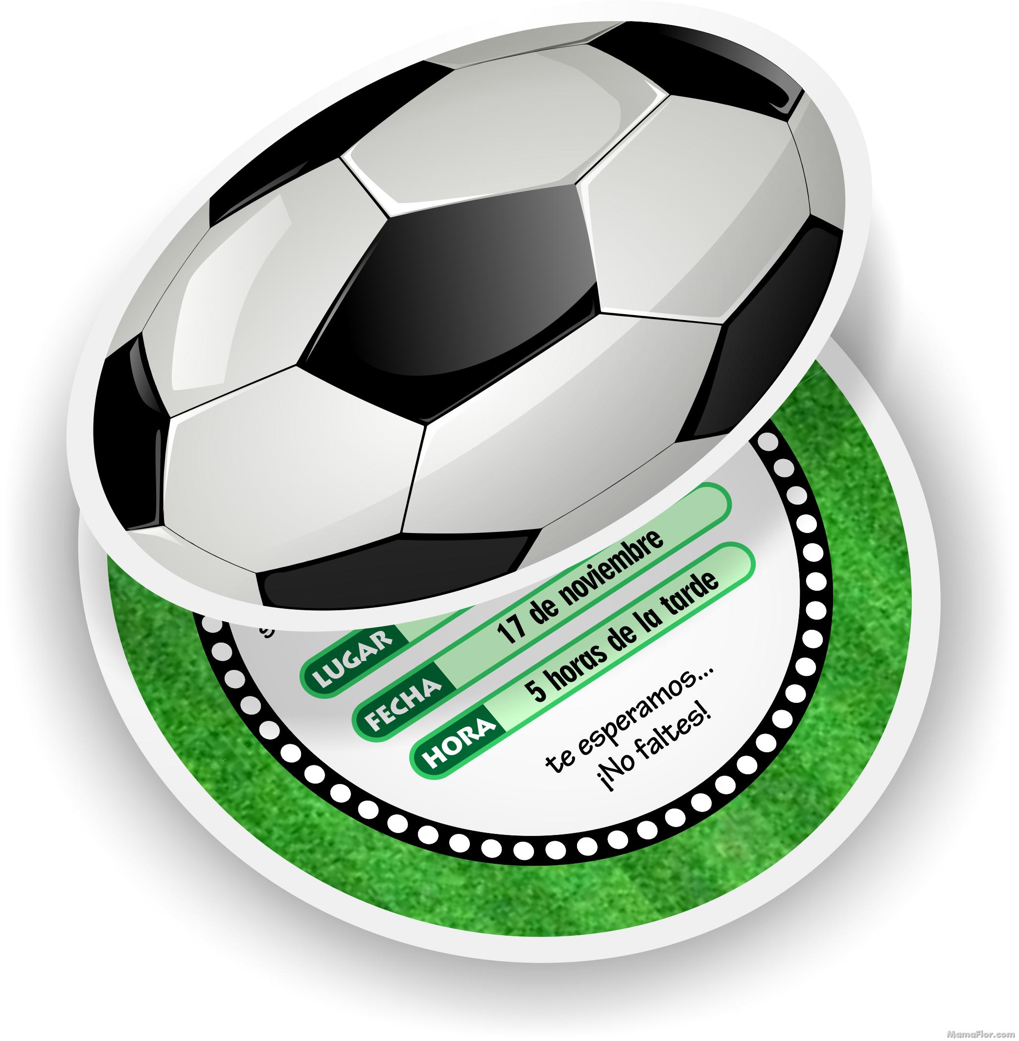 Invitaciones de Fútbol   Tarjetas en forma de Pelota GRATIS para ...