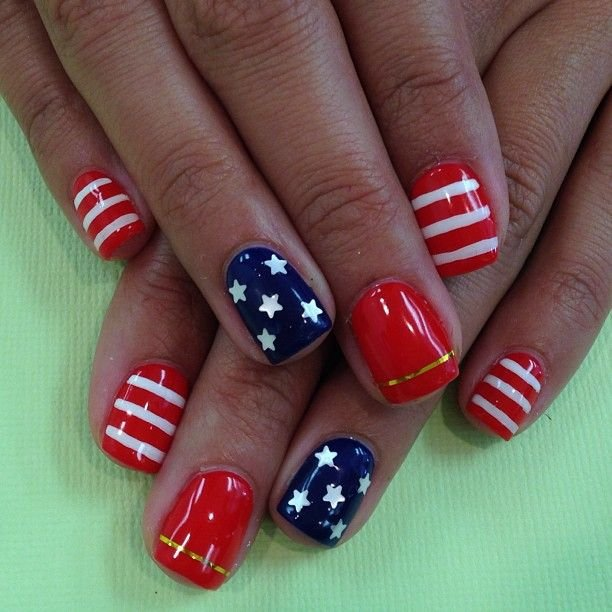30+ Simple & Easy 4th July Nails Art Ideas - Nails C