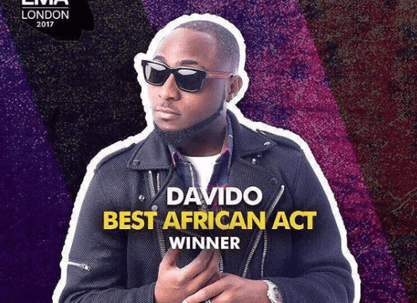 Davido Beats Wizkid, Others To Win MTV EMA African Act Of The Year Award 2017