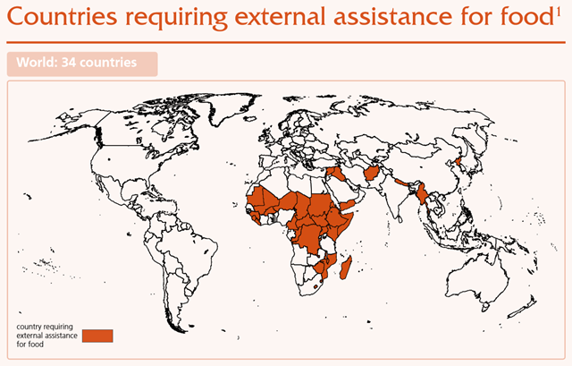 Map showing 34 countries that require external assistance for food, March 2016. Graphic: FAO